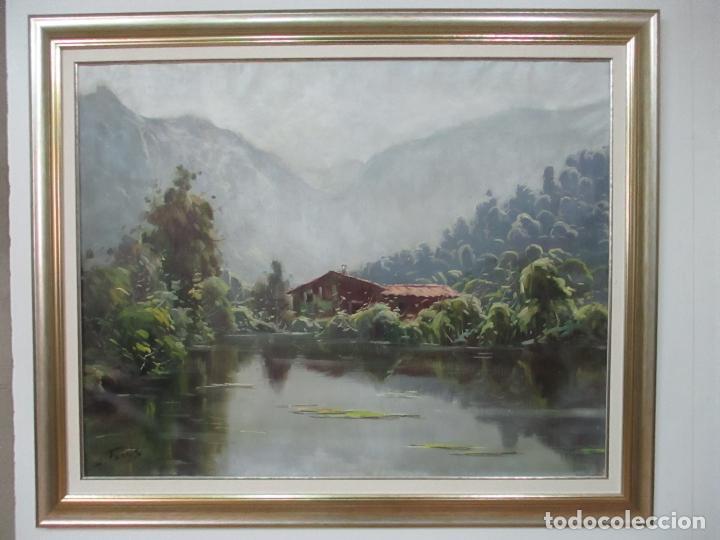 Arte: Oleó sobre Tela - Paisaje - Firma J. Fares - Enmarcado - Foto 2 - 121579435