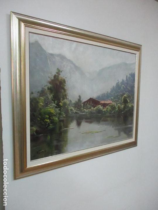 Arte: Oleó sobre Tela - Paisaje - Firma J. Fares - Enmarcado - Foto 3 - 121579435