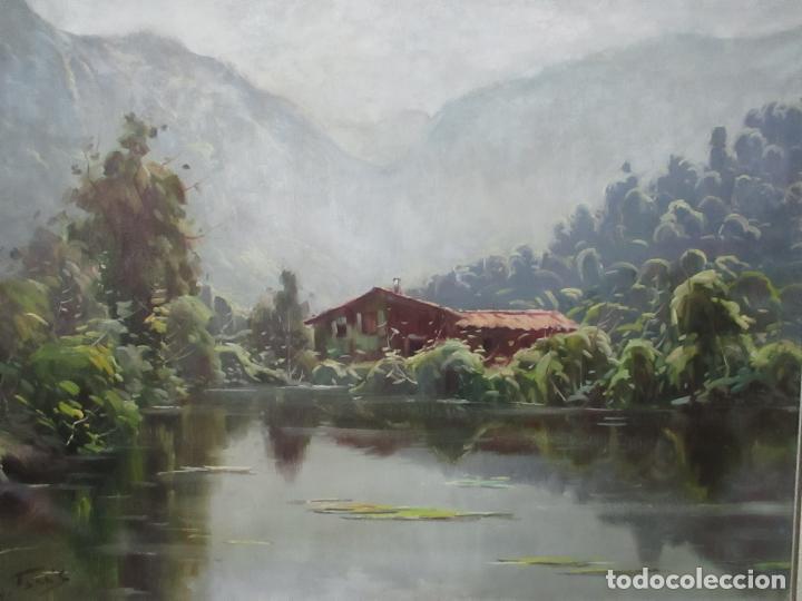 Arte: Oleó sobre Tela - Paisaje - Firma J. Fares - Enmarcado - Foto 4 - 121579435