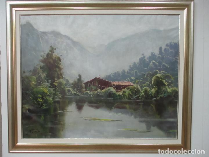 Arte: Oleó sobre Tela - Paisaje - Firma J. Fares - Enmarcado - Foto 8 - 121579435