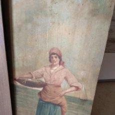 Arte: ÓLEO SOBRE TABLA - PESCADORA EN LA PLAYA. Lote 121611147