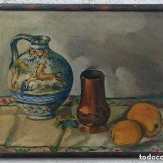 Arte: ANTIGUO ÓLEO SOBRE LIENZO, BODEGÓN, PUENTE DEL ARZOBISPO. FIRMADO: D. MARINS.50X36CM. Lote 121674223