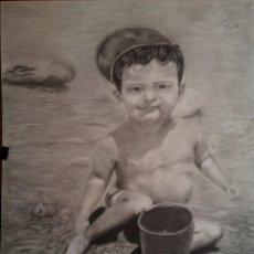 Arte: NIÑO EN LA PLAYA GRAFITO 70*50 CM. Lote 121814227