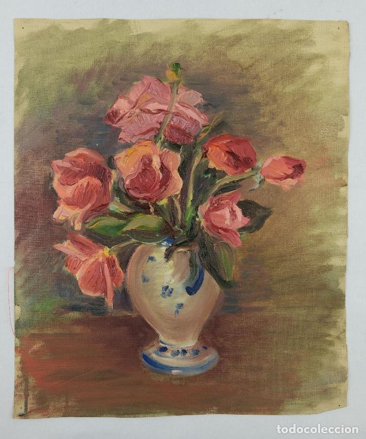 Arte: Óleo sobre lienzo Jarrón con rosas mediados siglo XX - Foto 2 - 122006283
