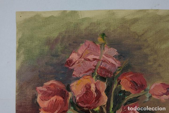 Arte: Óleo sobre lienzo Jarrón con rosas mediados siglo XX - Foto 3 - 122006283