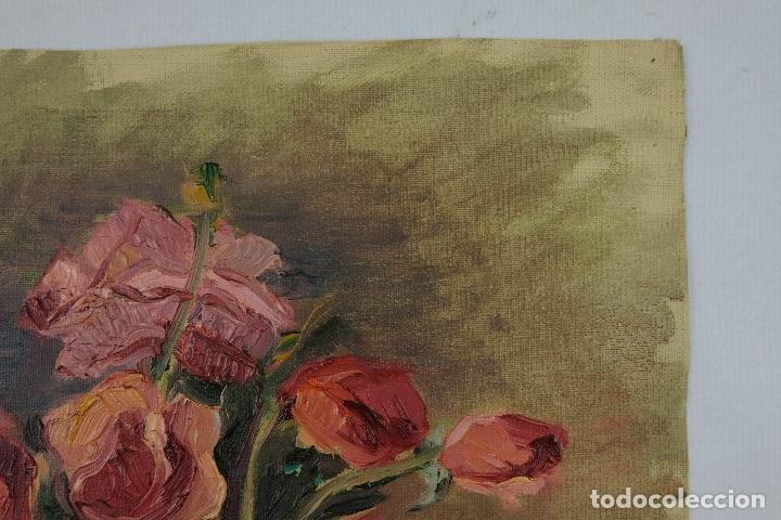 Arte: Óleo sobre lienzo Jarrón con rosas mediados siglo XX - Foto 4 - 122006283