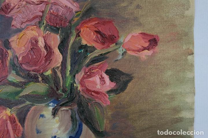 Arte: Óleo sobre lienzo Jarrón con rosas mediados siglo XX - Foto 5 - 122006283