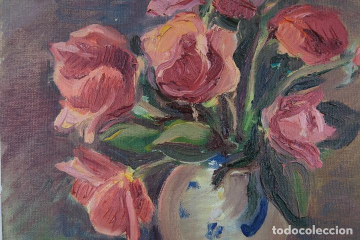 Arte: Óleo sobre lienzo Jarrón con rosas mediados siglo XX - Foto 6 - 122006283