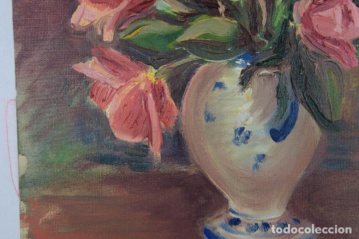 Arte: Óleo sobre lienzo Jarrón con rosas mediados siglo XX - Foto 7 - 122006283