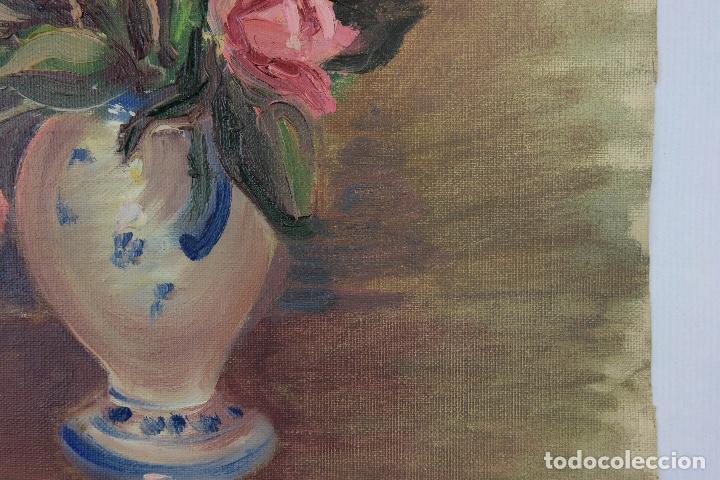 Arte: Óleo sobre lienzo Jarrón con rosas mediados siglo XX - Foto 8 - 122006283