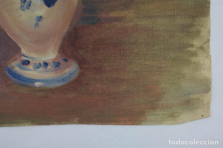 Arte: Óleo sobre lienzo Jarrón con rosas mediados siglo XX - Foto 9 - 122006283