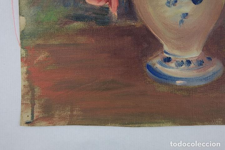 Arte: Óleo sobre lienzo Jarrón con rosas mediados siglo XX - Foto 10 - 122006283