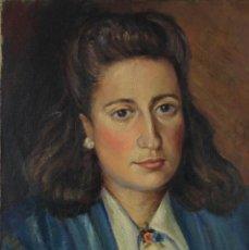 Arte: ÓLEO SOBRE LIENZO RETRATO MUJER FIRMADO EN REVERSO MUSONS 1946. Lote 122006751
