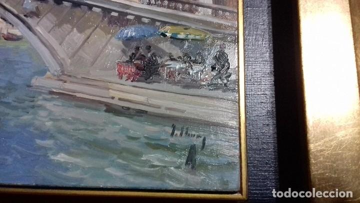 Arte: J. LUIS CHECA GALINDO. OLEO SOBRE TABLA 16x27. VENECIA. PUENTE DE RIALTO. MARCO GRATIS. PORTE GRATIS - Foto 5 - 118654927