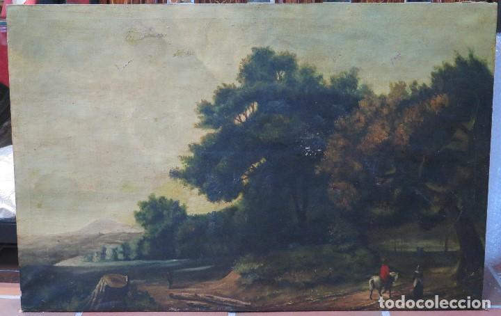 BONITO PAISAJE. OLEO S/ LIENZO. SIGUIENDO MODELOS DE CLAUDIO DE LORENA. FINALES SIGLO XIX (Arte - Pintura - Pintura al Óleo Moderna siglo XIX)
