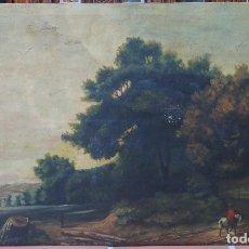 Arte: BONITO PAISAJE. OLEO S/ LIENZO. SIGUIENDO MODELOS DE CLAUDIO DE LORENA. FINALES SIGLO XIX. Lote 122098727