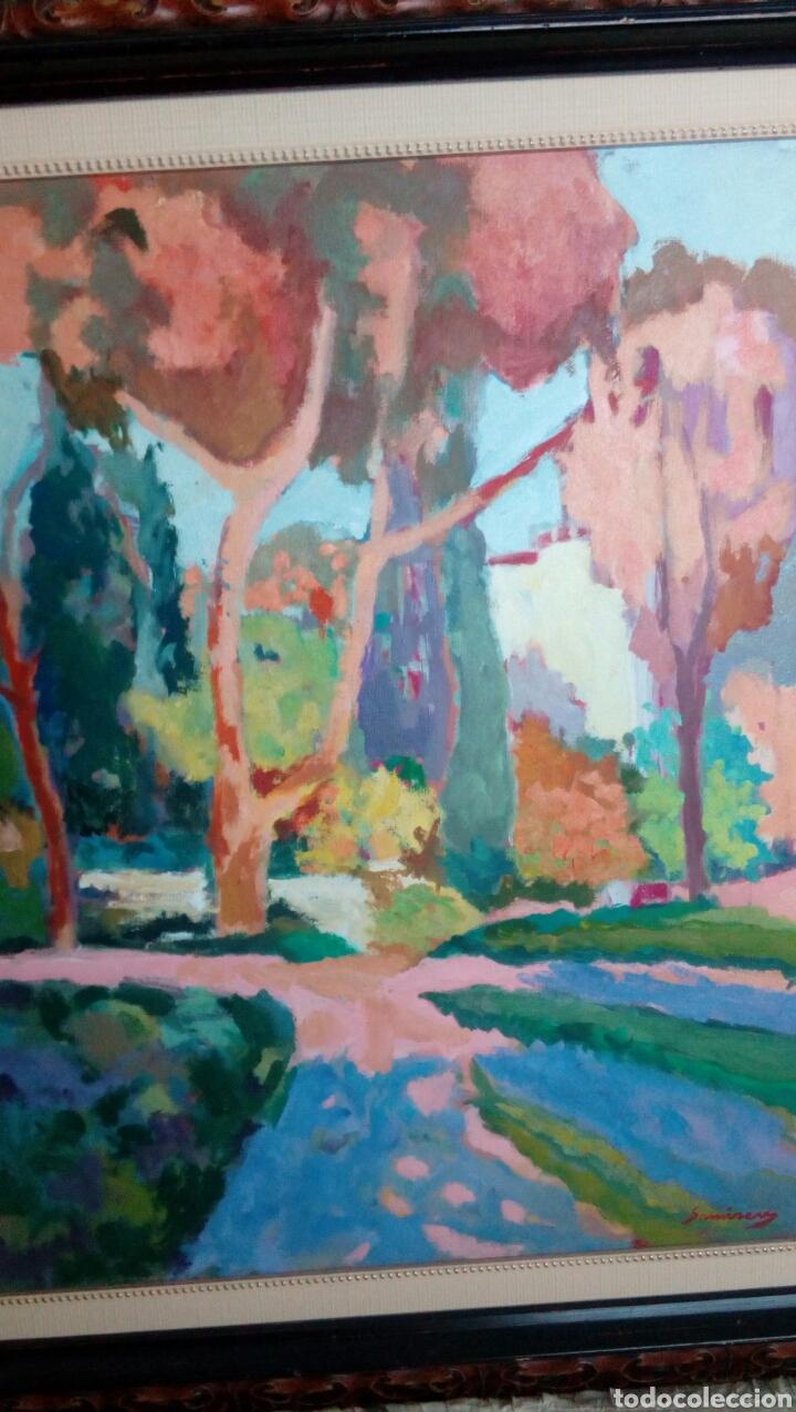 Arte: Ramon Sanvisens, jardines oleo sobre lienzo 65x54, firmado y enmarcado - Foto 2 - 122105150