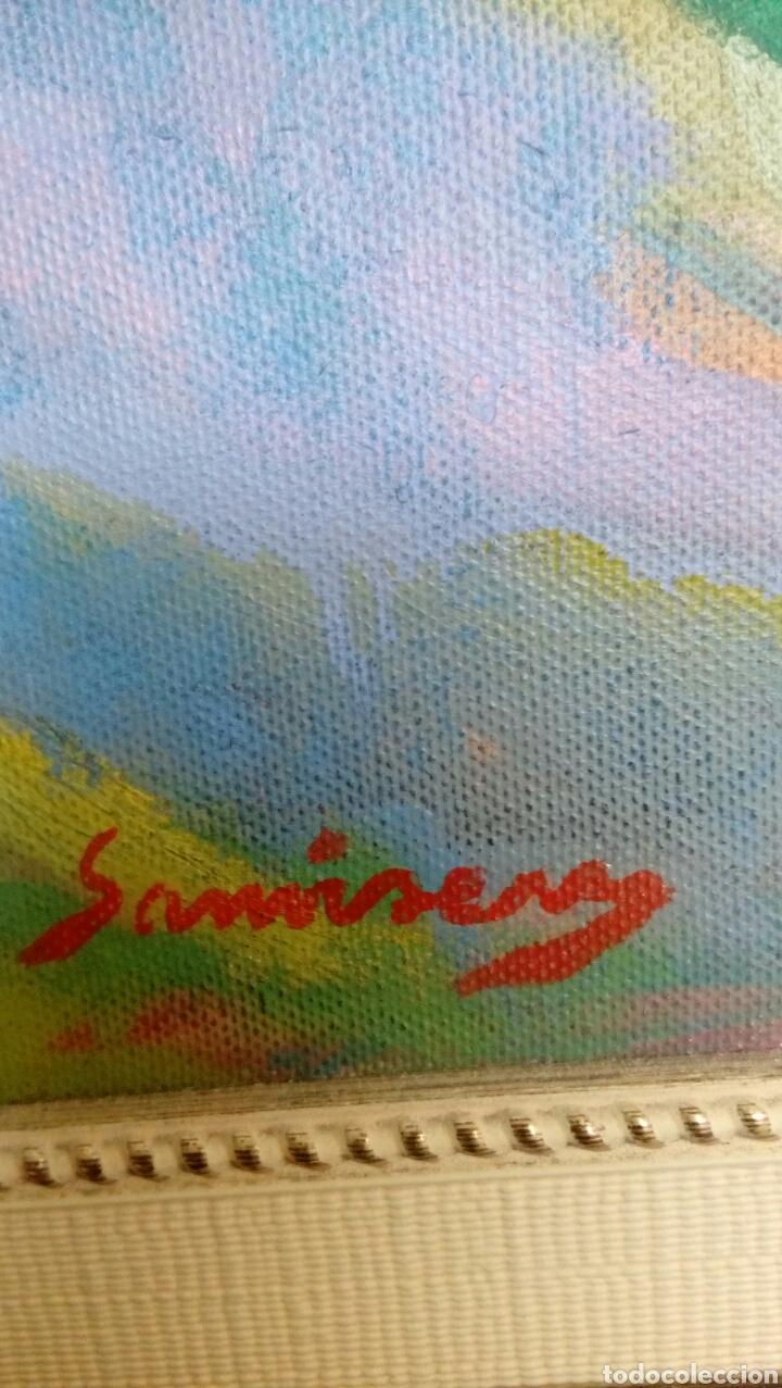 Arte: Ramon Sanvisens, jardines oleo sobre lienzo 65x54, firmado y enmarcado - Foto 4 - 122105150
