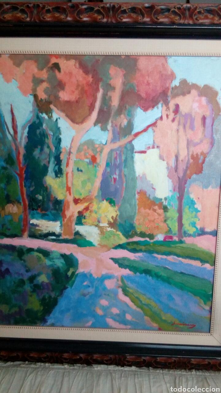 Arte: Ramon Sanvisens, jardines oleo sobre lienzo 65x54, firmado y enmarcado - Foto 5 - 122105150