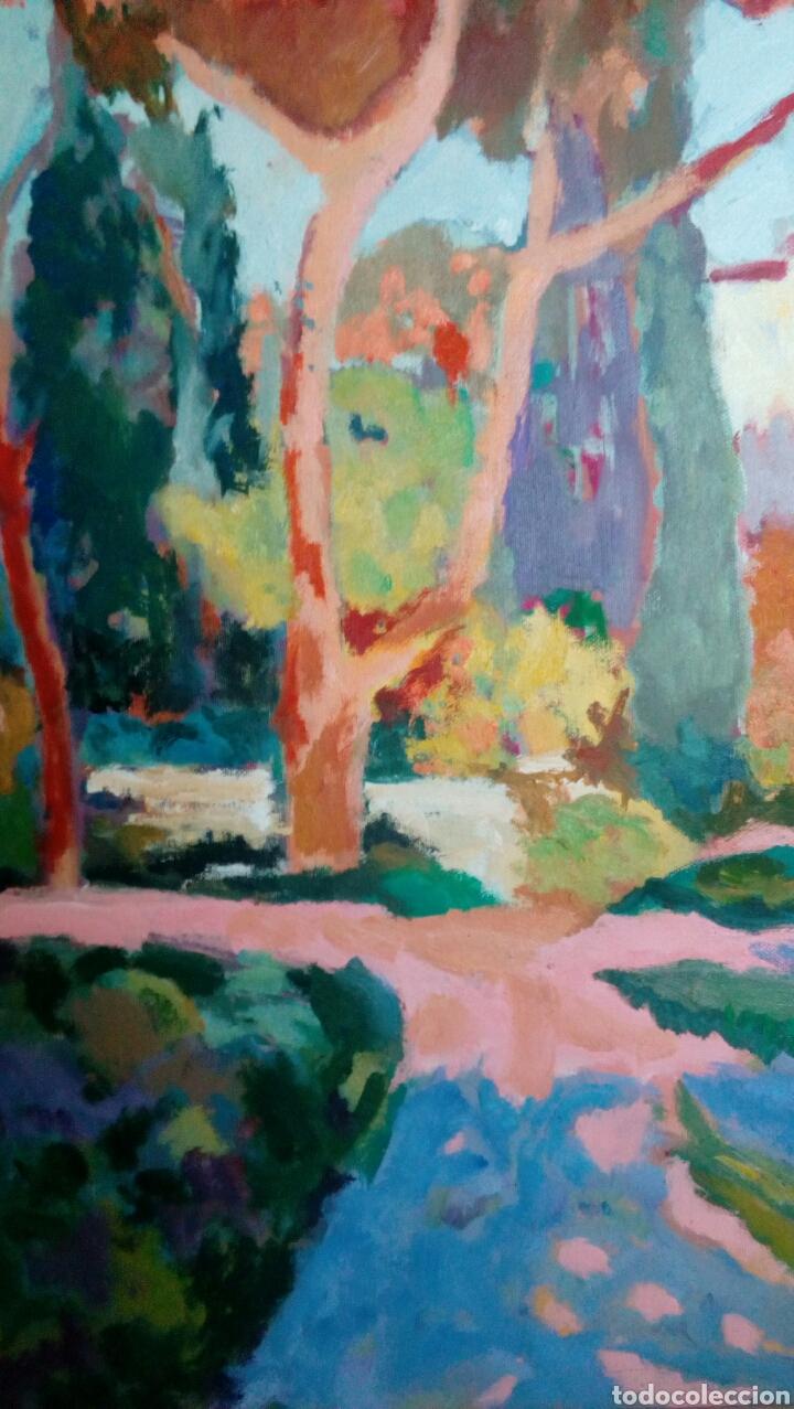 Arte: Ramon Sanvisens, jardines oleo sobre lienzo 65x54, firmado y enmarcado - Foto 7 - 122105150