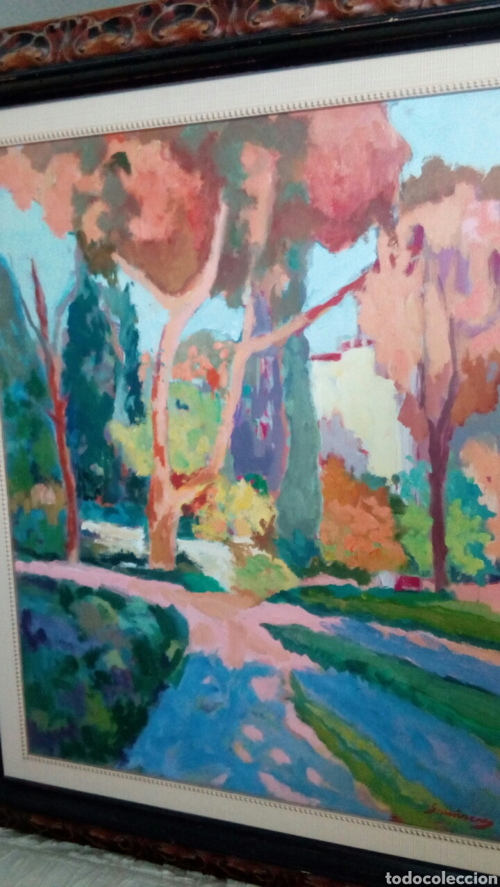 Arte: Ramon Sanvisens, jardines oleo sobre lienzo 65x54, firmado y enmarcado - Foto 8 - 122105150