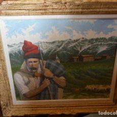 Arte: OLEO ALBERT SALA PASTOR CON OVEJAS EN MASIA. Lote 122114619