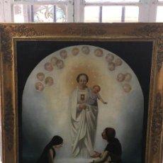 Arte: MAGNIFICO OLEO SOBRE LIENZO VIRGEN DE LA MERCED - FANTASTICO MARCO PAN DE ORO - MEDIDA 105X89 CM -. Lote 122221051