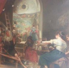 Arte: EXCEPCIONAL OLEO DE LA PINTORA MARIA GALAN CARVAJAL. LAS HILANDERAS. FECHADO EN 1910. AVILES. Lote 122222635