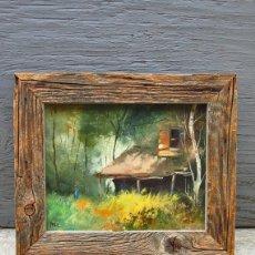 Arte: MARTIN PRIBIL / SIGNED / OIL PAINTING CABIN IMPRESSIONIST ART MID CENTURY IMPRESSIONISM . Lote 122236159