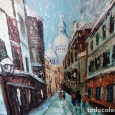 Arte: IMPRESSIONIST VILLAGE . WINTER CITYSCAPE / 1968 OOAK OIL PAINTING / CANVAS 18 X 14 SIGNED JAY.68.. Lote 122236231