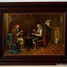Arte: INTERIOR DE TABERNA. OLEO SOBRE TABLA. M. ROMERO.. Lote 122249087