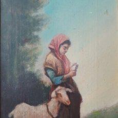 Arte: RULL (S.XIX) - PASTORCILLA CON OVEJA. Lote 122259887