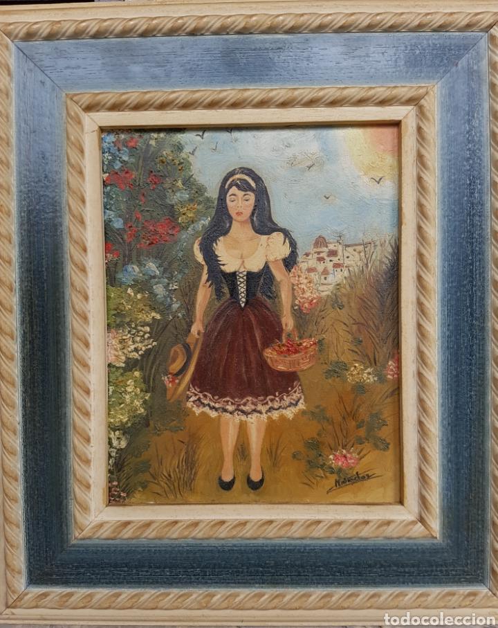 OLEO SOBRE LIENZO, MUJER VESTIDO TRADICIONAL, FIRMADO Y ENMARCADO, 34X39CM (Arte - Pintura - Pintura al Óleo Contemporánea )