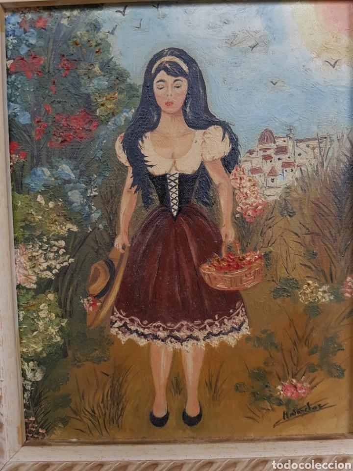 Arte: oleo sobre lienzo, mujer vestido tradicional, firmado y enmarcado, 34x39cm - Foto 4 - 122276202
