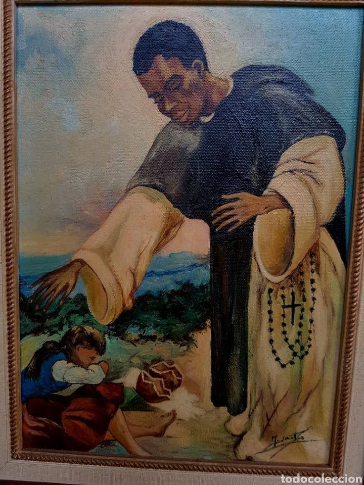 OLEO SOBRE LIENZO, MOTIVOS RELIGIOSOS, PASTOR, MISIONERO FIRMADO Y ENMARCADO- 48X38CM (Arte - Pintura - Pintura al Óleo Contemporánea )