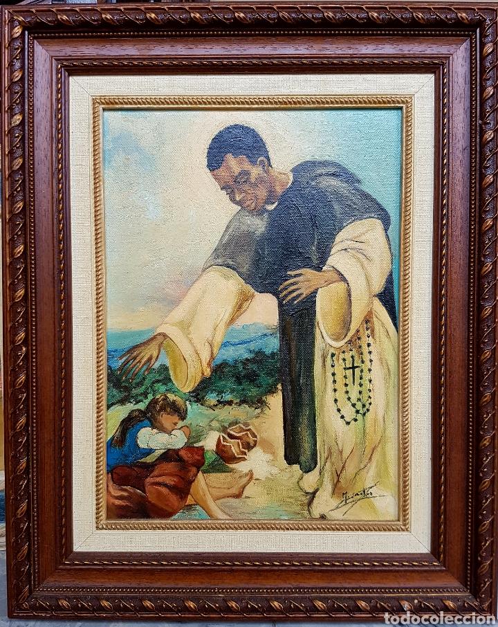 Arte: OLEO SOBRE LIENZO, MOTIVOS RELIGIOSOS, PASTOR, MISIONERO FIRMADO Y ENMARCADO- 48x38cm - Foto 2 - 122276343
