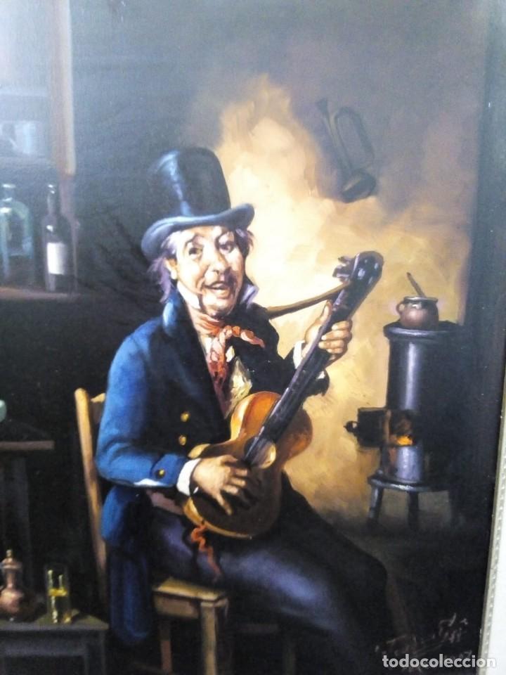 HOMBRE CON GUITARRITA. JOLOGA, LIENZO 65X54, F15. MARCO INCLUIDO. (Arte - Pintura - Pintura al Óleo Contemporánea )