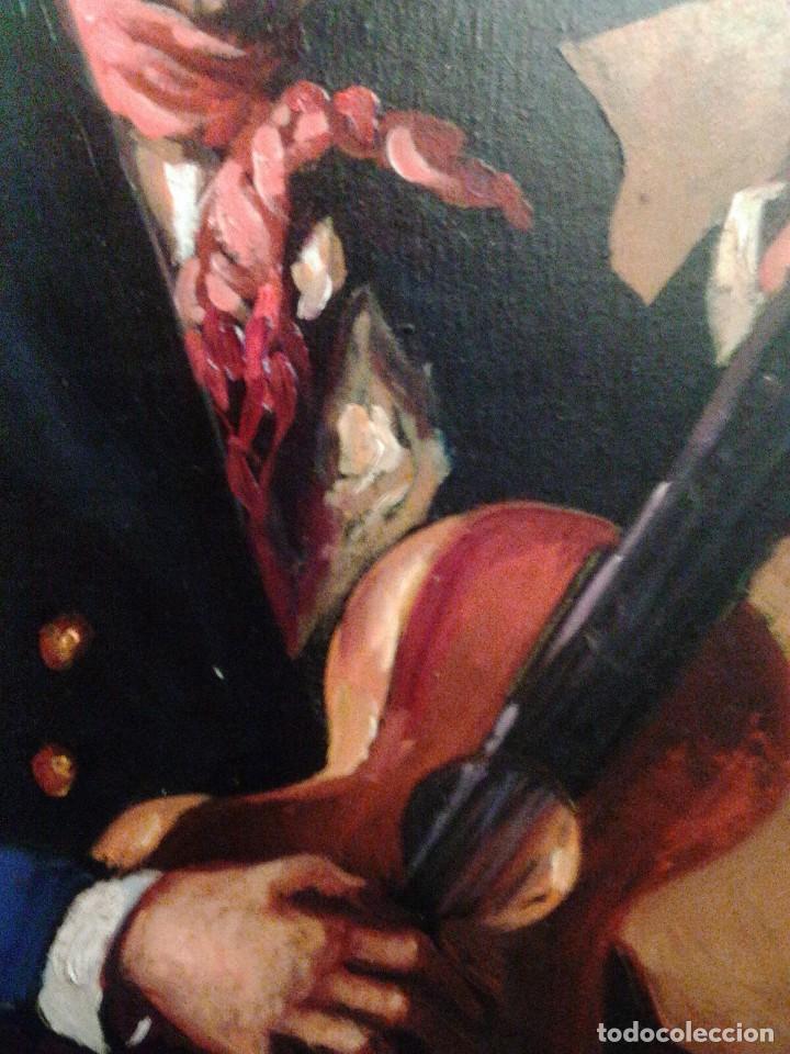Arte: HOMBRE CON GUITARRITA. JOLOGA, LIENZO 65X54, F15. MARCO INCLUIDO. - Foto 4 - 122342047