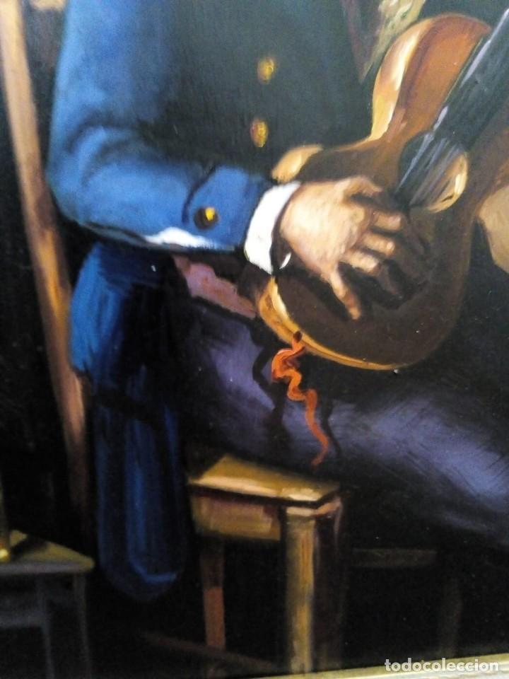 Arte: HOMBRE CON GUITARRITA. JOLOGA, LIENZO 65X54, F15. MARCO INCLUIDO. - Foto 14 - 122342047