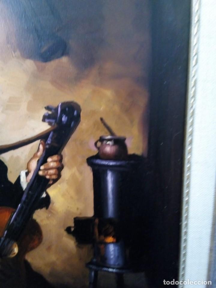 Arte: HOMBRE CON GUITARRITA. JOLOGA, LIENZO 65X54, F15. MARCO INCLUIDO. - Foto 18 - 122342047