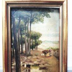 Arte: OLEO SOBRE TABLA, PAISAJE COSTUMBRISTA, FIRMADO Y FECHADO, 1905. J. BORREL? 17X24CM. Lote 81106675