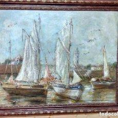 Arte: GRAN OLEO SOBRE TABLA PUERTO CON BARCOS. 109 CMS. MARINA. Lote 122552771
