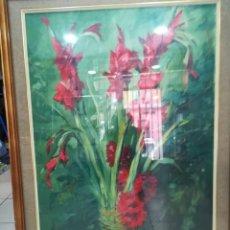 Arte: ANTIGUO CUADRO ENMARCADO PINTURA AL OLEO FLORES FIRMA PERANO. Lote 122573243