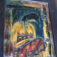 Arte: TOMEU PONS CALDENTEY (MALLORCA 1926/2018)- GRAN PINTURA ESMALTE SOBRE COBRE CON LIBRO CATALOGO IBIZA. Lote 122586579