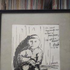 Arte: CUADRO DIBUJO ORIGINAR DEL PINTOR AMANDO (VIGO, 1951) 1976 /UN NENO ESPERANDO ACTUAR A MÁSCARA/. Lote 122689031