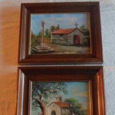Arte: DOS CUADROS AL OLEO MOTIVOS GALLEGOS, MINIATURAS. Lote 122731391