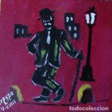 Arte: CHARLOT,ÓLEO SOBRE MADERA DE 24X24,AUTOR CRESPO. Lote 122734299