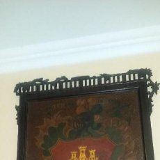 Arte: ESCUDO DE ARMAS PINTADO EN LAMINA DE COBRE DEL SIGLO XVI. Lote 122810003