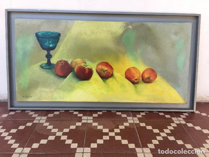 ÓLEO SOBRE LIENZO CARMEN CAMBA MORLA COPA AZUL CON MANZANAS 1990 (Arte - Pintura - Pintura al Óleo Contemporánea )