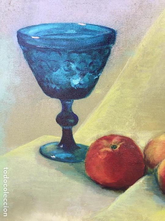 Arte: óleo sobre lienzo carmen camba morla copa azul con manzanas 1990 - Foto 6 - 122841839